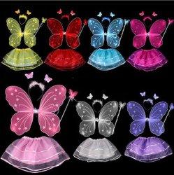 Costumes d'Halloween ailes de fées aux papillons avec jeu Tutu danse pour filles Costumes