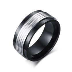 Venda por grosso Anéis Masculino Fashion Design simples homem negro de Prata Anel Rotativo