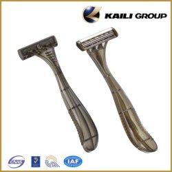 Máquina de barbear descartáveis cabeça giratória com lâmina Triplo