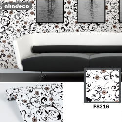 Fabricación de la fábrica profesional Akadeco fuego, la salud de 0,08 mm de impresión colorida Etiqueta autoadhesiva de decoración de interiores tapiz impermeable