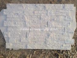 Природные ослепительно белый Quartzite укладки камня для монтажа на стену плиткой из шпона