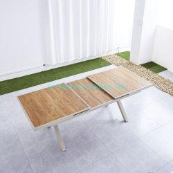 Groothandel Home meubels modern Green Style Outdoor Garden Rattan Dining Tafel Bureau Aluminium lange tafel Terras Tafelset