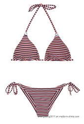 최신 판매는 수영복 건방진 발랄한 Panty 줄무늬 끈 비키니를 주문을 받아서 만든다