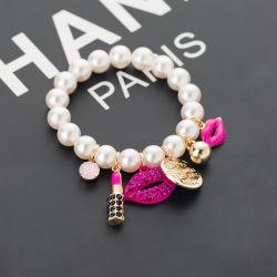 Senhoras misture e combine Pearl Bracelete Multi-Layer Lábios Liga de cordões de transferência de pétalas de Tróia
