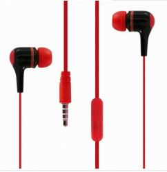 Mobile Kopfhörer mit Mikrofon in Flachkabel rot und schwarz Gemischt