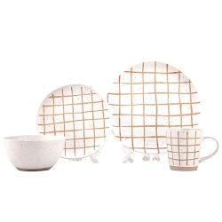 北欧安の様式の卸売の簡単な現代生きているディナー用大皿の縞陶磁器ボールの磁器のディナー・ウェアセット