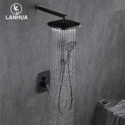 UPC 무광 블랙 벽 마운트 벽 마운트 저장 물 비 욕조 욕실용 놋쇠 샤워 믹서 탭