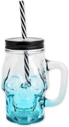 300 ml azul vidro cranio caneca de vinho a beber Copo com tampa e palha