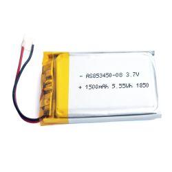 Pilas recargables 853450 fábrica 3,7V 1500mAh Batería Lipo Batería de polímero de litio de 5,55wh para Smartphone con UL/KC/IEC62133