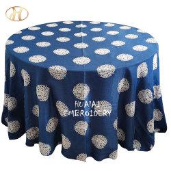 """panno di tela della Tabella del tessuto di blu marino 90 """" *90 """" del ricamo quadrato dell'azzurro per gli eventi"""