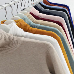 Outono Inverno Mens solto fundo liso Camisolas pullovers Turtleneck suéter