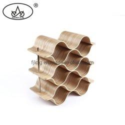 Venda por grosso 9 Biberões Willow Armário de madeira Exibir suporte para garrafa de vinho de suporte de prateleira com rótulo