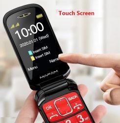 Calidad Premium 2.4inch S0s clave gran Font espera larga Senior de teléfono de marcación rápida Flip 2g con soporte de carga.