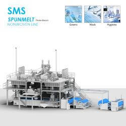 2400mm Spunbond SMS fundido fundir la maquina para fabricar tejida de materia prima Mascarilla máquina textil no tejido