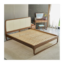 침실을%s PU 가죽 2인용 침대를 가진 현대와 단순히 유일한 디자인 재 단단한 나무