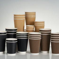 Logo personnalisé biodégradable 4oz/8oz/12oz/16oz ondulation boisson chaude tasse de café en papier