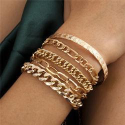 Europese en Amerikaanse mode-sieraden Goud en zilver sieraden hart-vormig Print Bangle Punk Hip Hop Cubaanse metalen ketting set armband Voor vrouwen