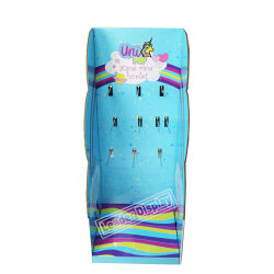Contador de la tienda piso flexible impreso en la pared de la pared de maquillaje de pantalla de papel cartón Piso con ganchos