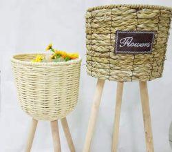 Barato jardinagem doméstica Willow vime cestas de Flores Lado Tecidos de armazenamento para varanda Gardeen decorativas