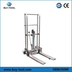 Levantamiento de carretilla apiladora de plataforma de acero inoxidable 400kg de mano multifuncionales transpaleta manual carretilla elevadora