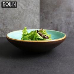 De kleur verglaasde de Ceramische Ceramische Kom van de Salade van het Porselein van het Aardewerk Mini