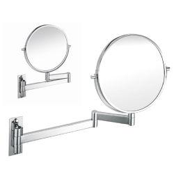 Recto-verso ronde murale moderne 1X/3X loupe de la vinaigrette miroir avec SUS304 d'images, bras de pliage & Wall de base (5702)