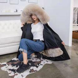 Donne spesse del parka del rivestimento del cappotto incappucciato del collare della pelliccia di Fox del nuovo del coniglio della donna del parka di inverno di modo della pelliccia cappotto reale staccabile della fodera grandi