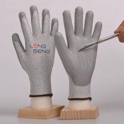 Usine! Niveau 3/5 Hppe chemise en fibre de verre Sandy/ de la mousse de latex nitrile ondulée PU Cut-Proof résistants aux coupures recouvert de caoutchouc anti couper la main la sécurité au travail des gants de protection