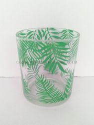 Suporte para velas de vidro com Fern Design de lâminas