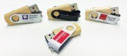 USB 3.0 bois pivotant Clip Lecteur Flash mémoire USB 2.0 avec logo