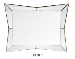 Großer gestalteter Octagon-Wand-Spiegel mit winkliges abgeschrägtes Spiegel-Rahmen-erstklassiges Silber unterstützter Glaspanel-Eitelkeit, Schlafzimmer oder Badezimmer widergespiegeltem Viereck Shap