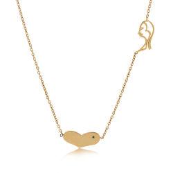 Mode Damen Gesicht Herz-Förmige Anhänger Schmuck Schlüsselbein Halskette