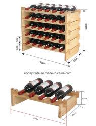 Amende en bois de pin naturel vin racks empilables