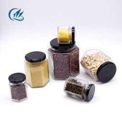 Forme ronde transparent 200ml 300 ml de gelée de bourrage de miel en pots de verre avec couvercle de métal