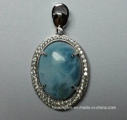 Природных драгоценных камней Larimar серебристые украшения в пульте управления (P0309)