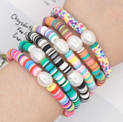 Vintage Bracelete artesanal natural da Boémia Bela Pearl 6mm suaves cores cerâmica pulseira elástica