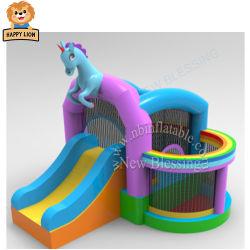 Happy Lion enfant gonflable Combo bouncer, parc aquatique Wet sec Diapositive Videur à cheval