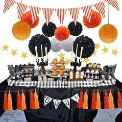 할로윈 파티 장식품 키트, 제지 랜턴, 타게 걸치기 갈랜드 배너, 조직 POM 꽃, 트라이앵글 플래그 아기 샤워