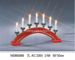 Lampada a candela a ponte in legno rosso da 7 l.