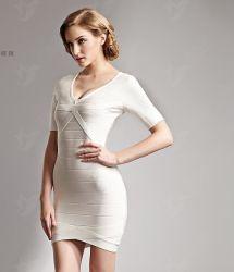 L'Ladys pansement blanc robe avec une robe à manches courtes