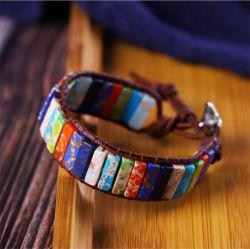 Уникальный многоцветный природного камня Трубы сварные швы ручной работы из натуральной кожи чакры браслеты