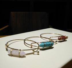 Weinlese-böhmisches Kristalltürkis-Armband-natürliches Steinmetalljustierbares Armband