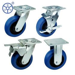 WBD Heavy Duty Top Plate Silence Elastischer Gummi auf Guss Industrielle Caster Räder mit Bremse