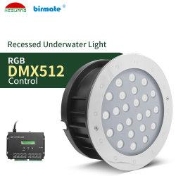 36W RGB DMX512 empotrables LED de control de la luz subacuática Impermeable IP68 SS316L Piscina iluminación óptica