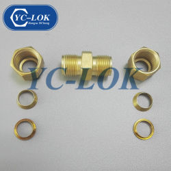 二重フェルールのガスおよびオイルのための真鍮の圧縮連合付属品