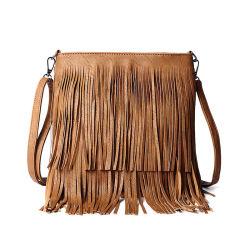 Горячий продавать леди мода провод фиолетового цвета кожи повседневный Tassel Messanger дамской сумочке Crossbody Полиэтиленовые пакеты могут согласиться с малым количеством оптовая торговля