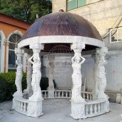 Lado entalhado jardim exterior Gazebo de mármore branco (GSGZ-100)