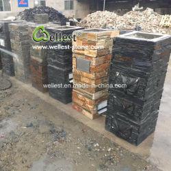 Ciment Rusty cultivés en ardoise naturelle piliers de pierre et les bouchons