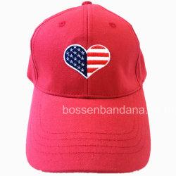 Conception personnalisée OEM Logo rouge brodé coton sergé Sports des casquettes de baseball
