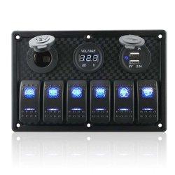 8 Gang 로커 스위치 패널 디지털 전압계 디스플레이